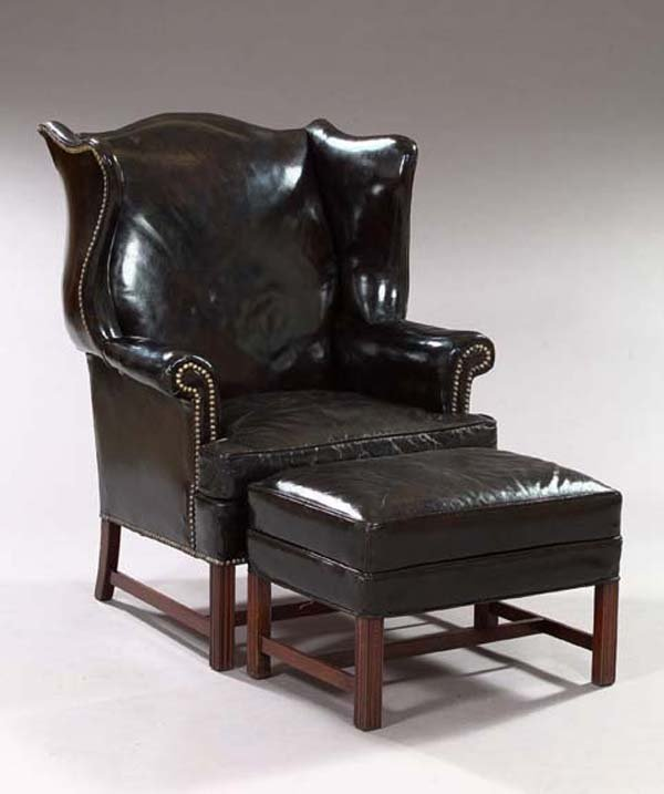 2: English Mahogany Armchair and Footstool