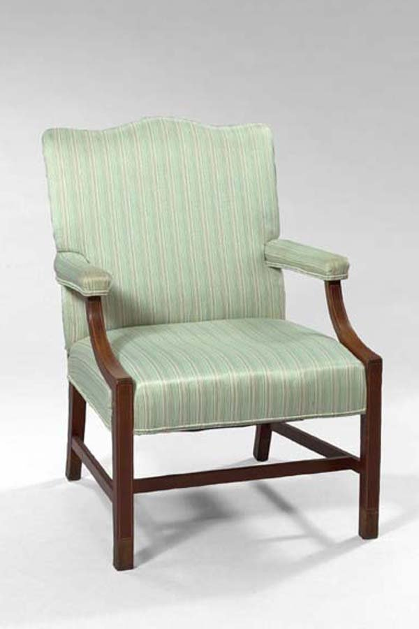 5: English Mahogany Upholstered Open Armchair