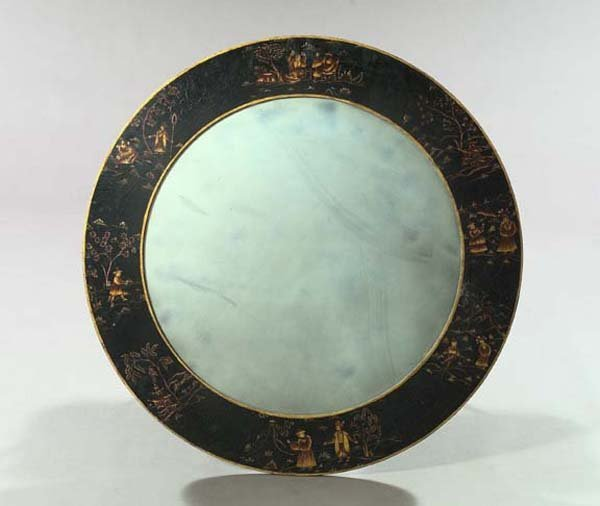 6: English Black-Lacquered and Parcel-Gilt Mirror