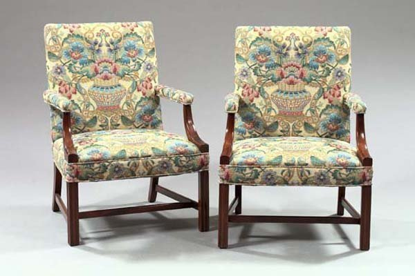 "8: English Mahogany ""Gainsborough""-Style Armchair"