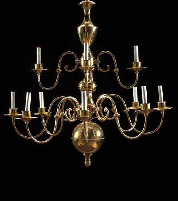 15: English Tiered Twelve-Light Brass Chandelier