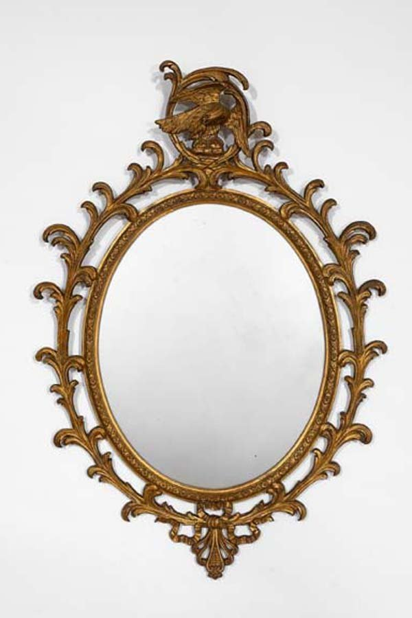 20: English Oval Carved Giltwood Mirror