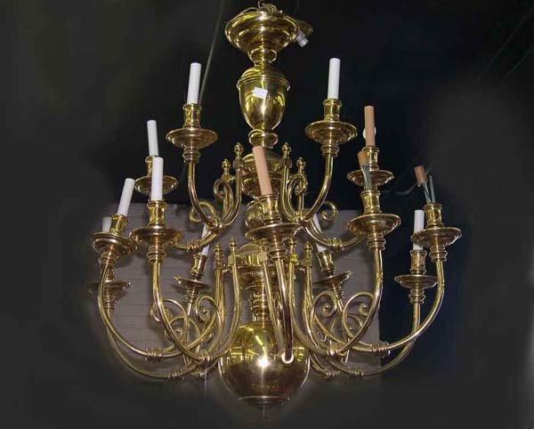 22: English Brass Tiered Fifteen-Light Chandelier