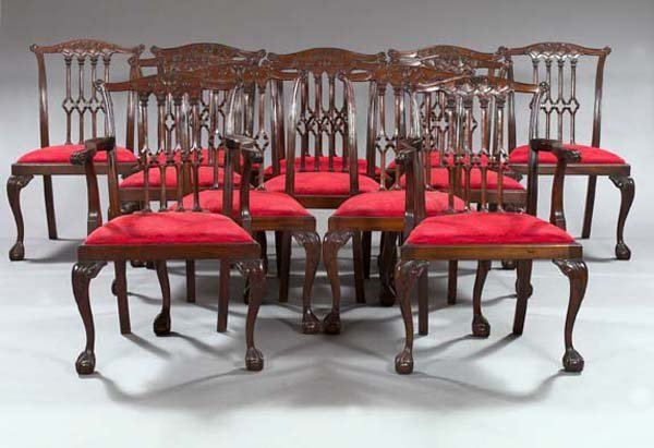 23: Chippendale-Style Mahogany Dining Chairs
