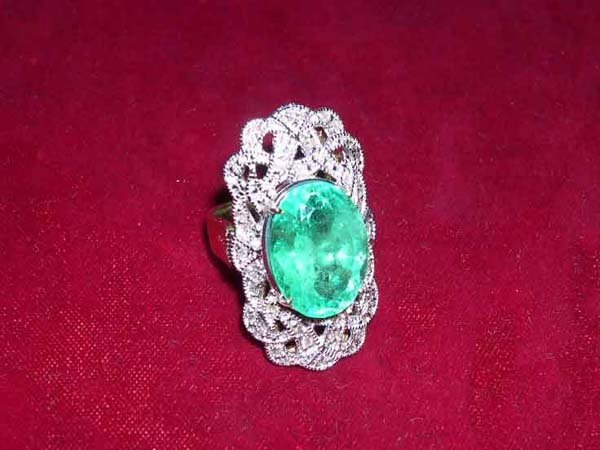 607: White and Yellow Gold, Emerald and Diamond Ring