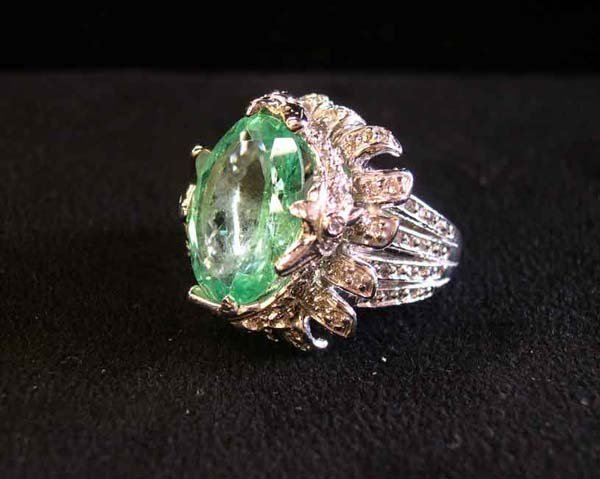608: White Gold, Emerald and Diamond Cocktail Ring