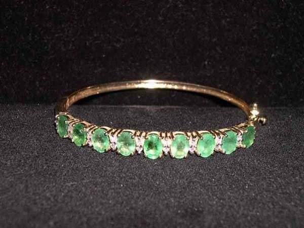 609: Yellow Gold, Emerald and Diamond Bangle Bracelet