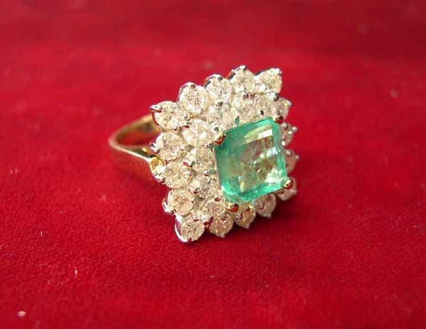 613: Yellow Gold, Emerald and Diamond Dinner Ring