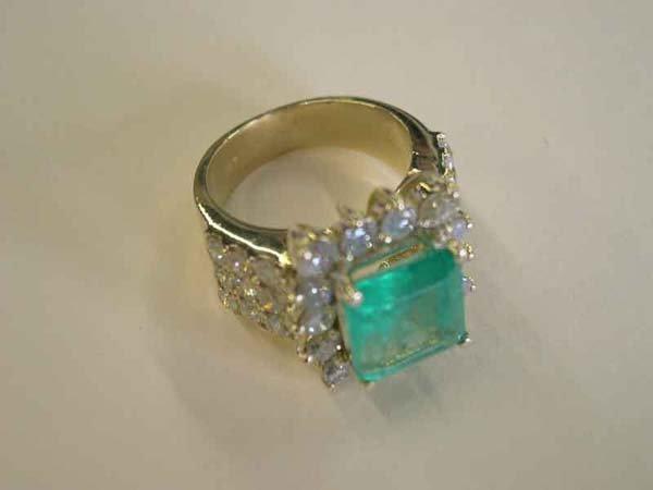 614: Yellow Gold, Emerald and Diamond Ring