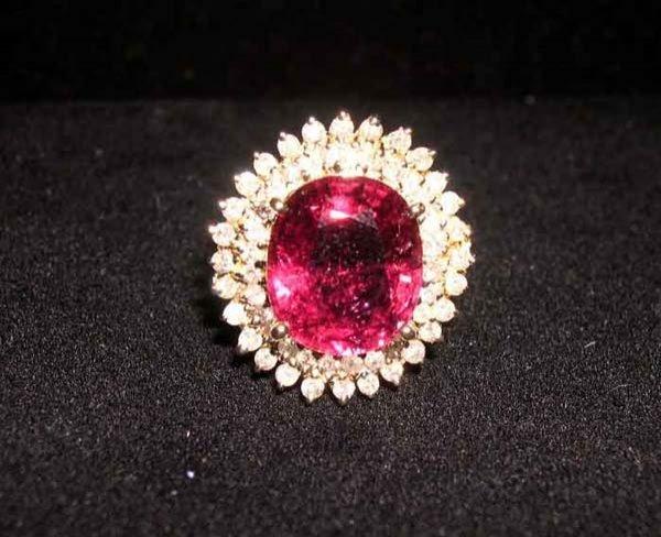 616: Yellow Gold, Rubellite and Diamond Ring