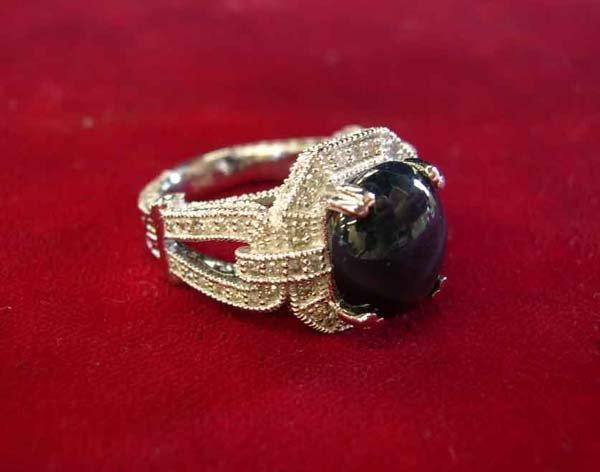 623: White Gold, Star Sapphire and Diamond Dinner Ring