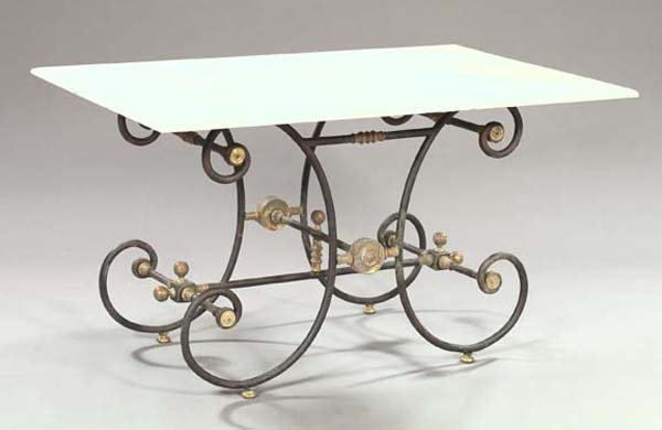 903: French Brass-Mounted Wrought-Iron Baker's Table
