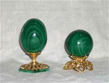 1049 Group of Two GiltBrassMounted Malachite Egg