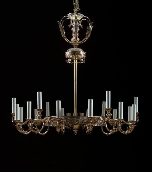 3: Schoenbeck 30 Light Brass and Crystal Chandelier
