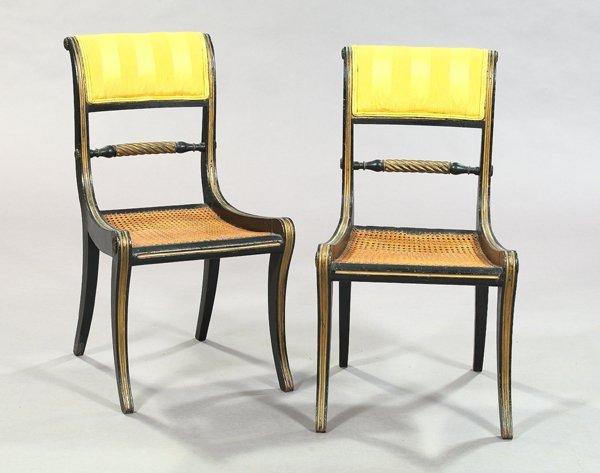 7: Pair of Regency-Style Polychromed Sidechairs
