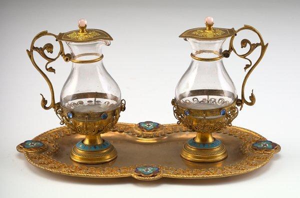 14: Napoleon III Blown Glass Oil-and-Vinegar Set