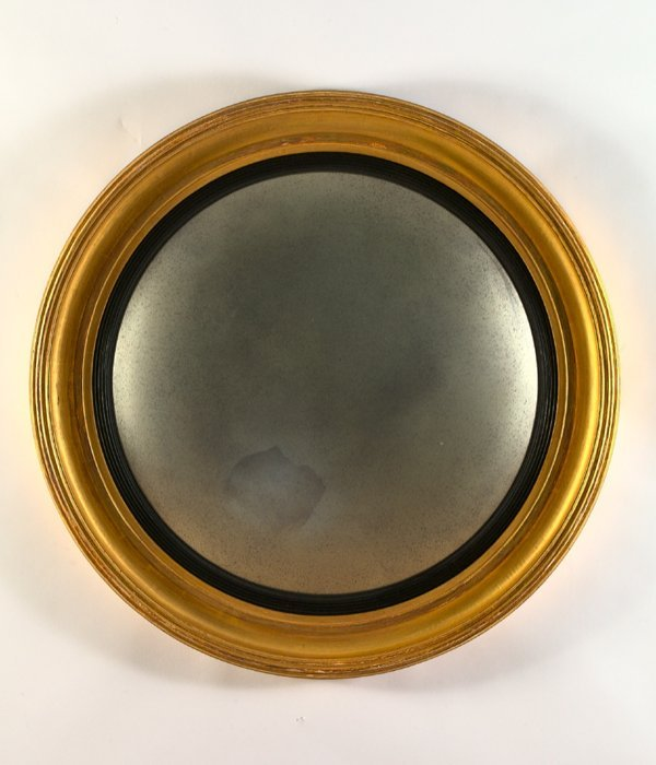 15: English Carved Wooden Convex Mirror