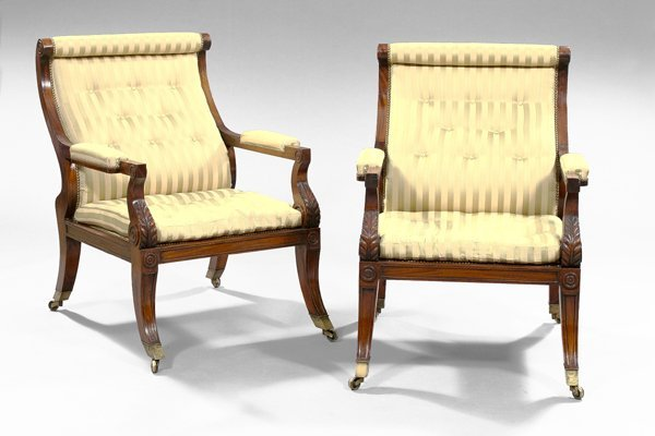 16: Pair of William IV-Style Mahogany Library Chairs