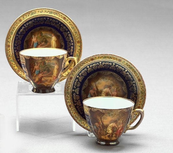 20: Volkstedt Porcelain Coffee Cups and Saucers