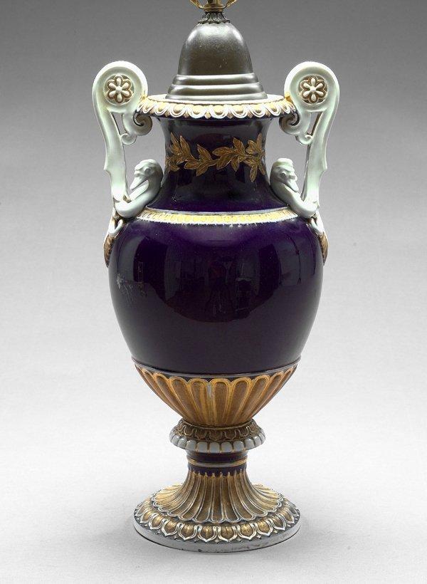 21: Meissen Blue-du-Roi-Ground Porcelain Lamp
