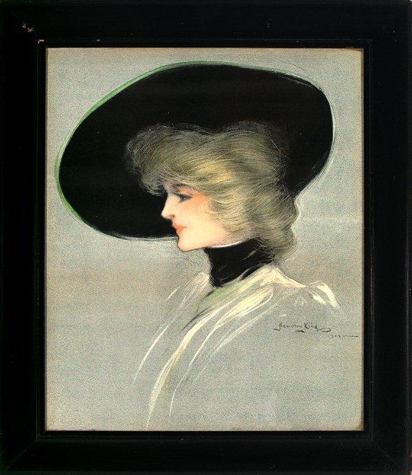 """419: Hamilton King """"Portrait of Beauty in Black Bonnet"""""""