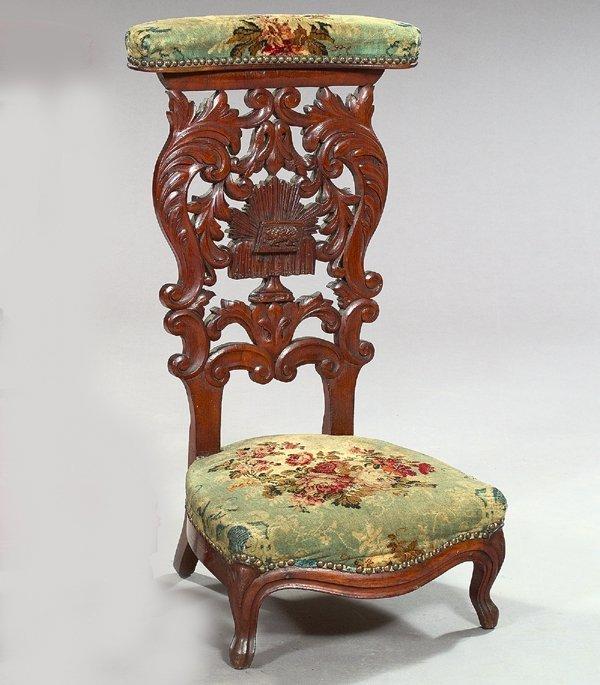 777: Napoleon III Animalier-Carved Mahogany Prie Dieu