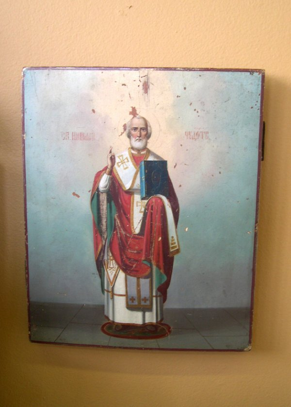 795: Russian Cradled Polychromed Wooden Ikon