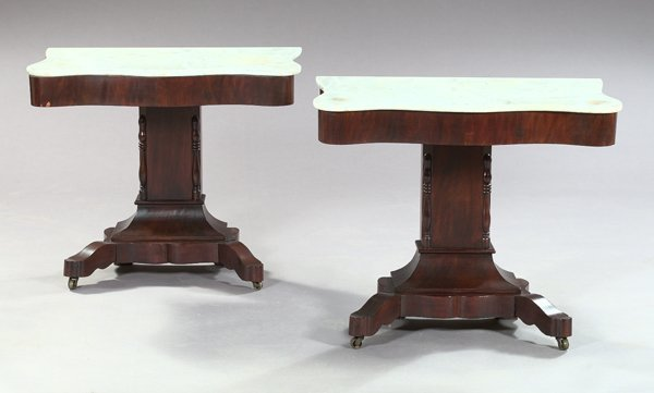 1214: American Late Classical Mahogany Console Tables