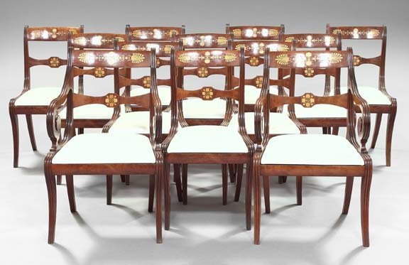 11: Twelve Régence-Style Inlaid Mahogany Chairs
