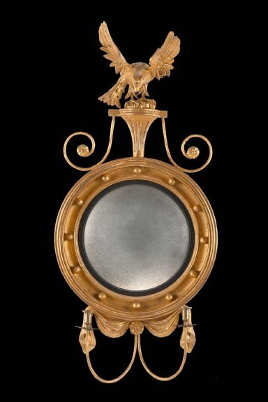 17: English Carved Giltwood Convex Mirror