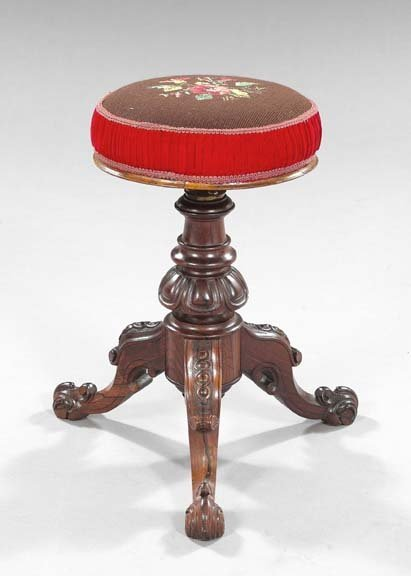 19: Napoléon III Carved Rosewood Piano Stool,