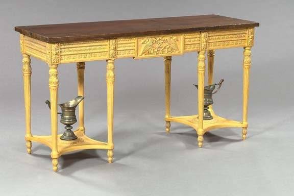 20: Interesting Carved Giltwood and Oak Side Table