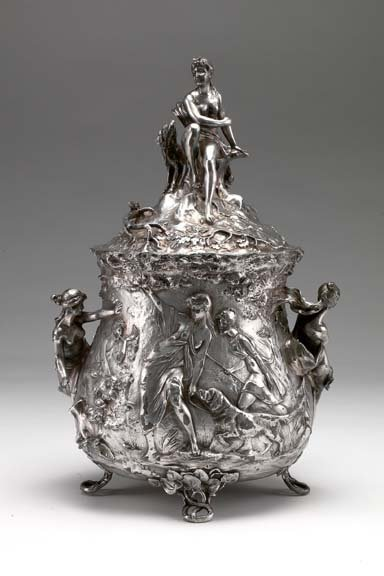119: German Silverplate Bas-Relief Covered Punch Pot