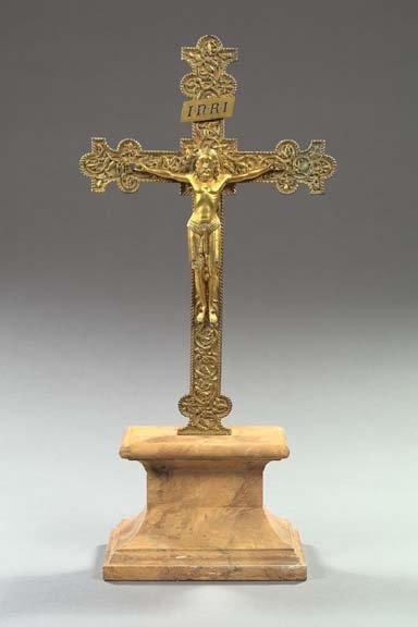 775: Italian Gilded Bronze Crucifix,