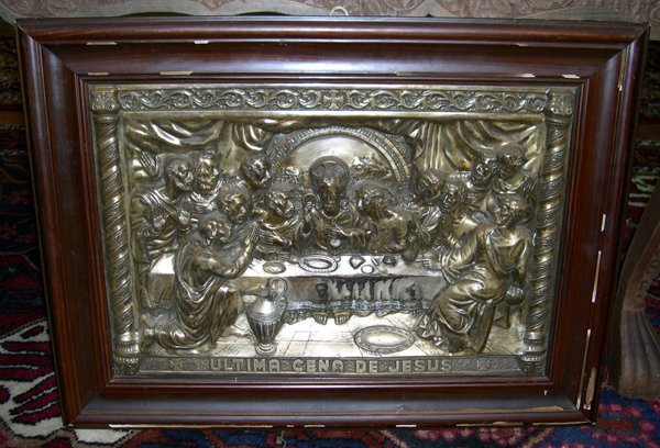 780: Italian Embossed and Silvered Brass Relief Plaque