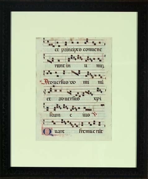 785: Pair of Latin Vellum Musical Sheets,