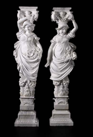 794: Carved Carrara Marble Figural Pedestal Columns
