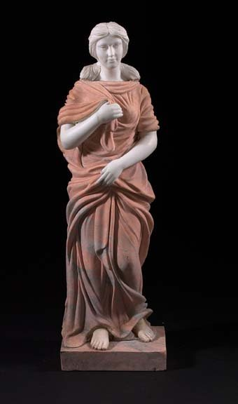 795: White Carrara and Cipolin Carved Marble Sculpture