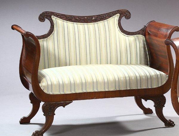 1126: American Late Victorian Mahogany Settee,