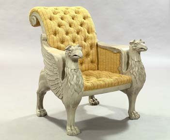 1: Carved and Polychromed Winged Griffin Armchair