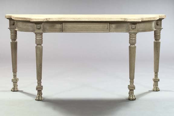 2: Regency-Style Polychromed Marble-Top Side Table