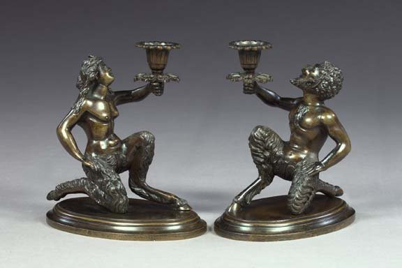 8: Pair of Italian Patinated Bronze Figural Candlestick