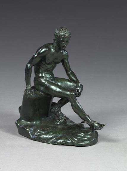9: Bronze-Patinated Brass Seated Nude Athlete