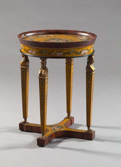 11: Faux-Grained Rosewood, Polychromed Side Table