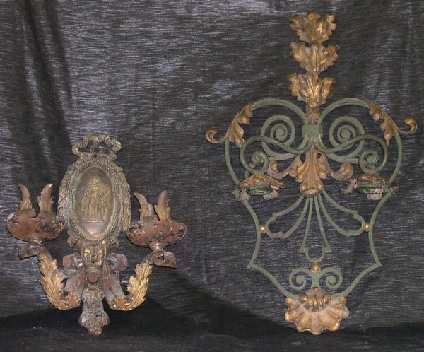 19: Two Metal Sconces,