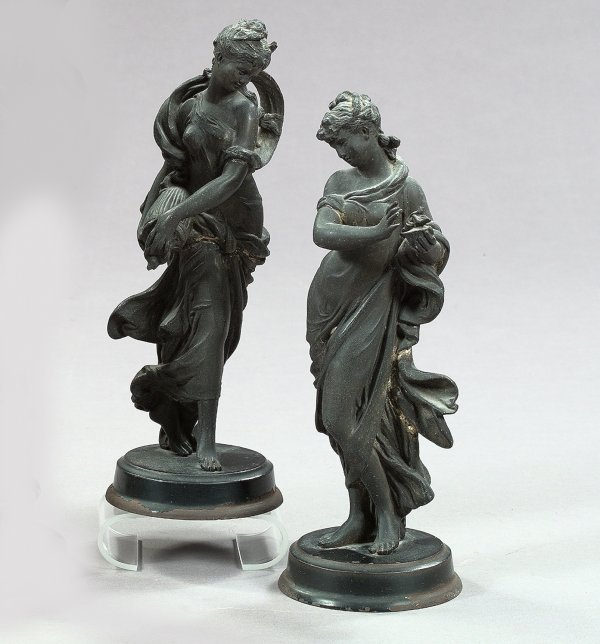 642: Pair of French Cast-Iron Garniture Figures