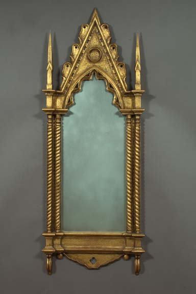 857: Gesso Giltwood Gothic Revival Beveled Mirror