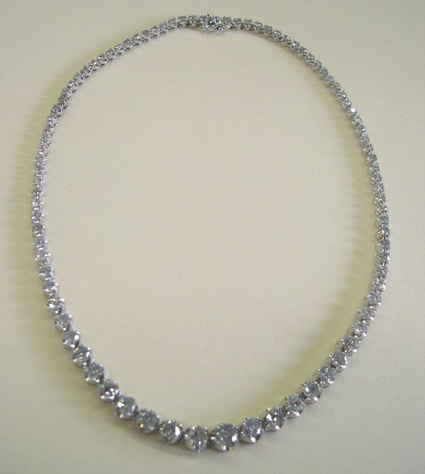 """860: White Gold and Diamond Lady's """"Tennis"""" Necklace"""