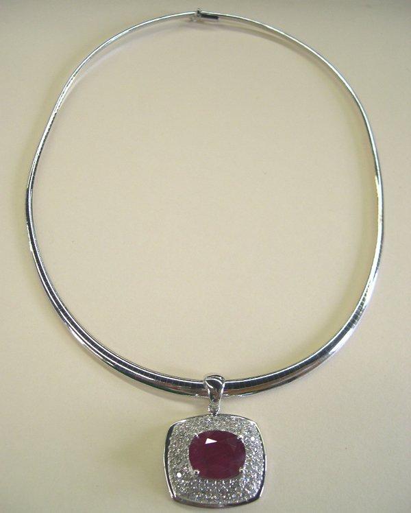 869: White Gold, Ruby and Diamond Pendant