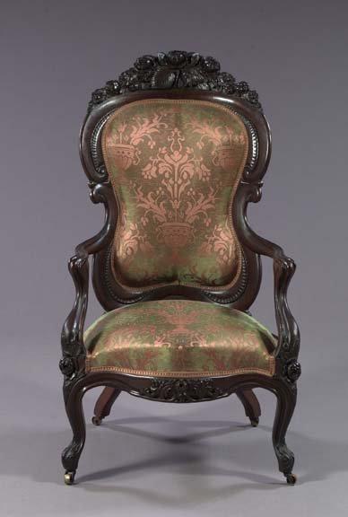 984: American Rococo Revival Rosewood Armchair